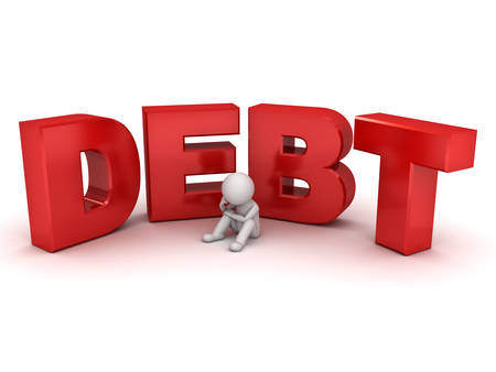 credit card debt: 3d man sitting with red word debt isolated over white background Stock Photo