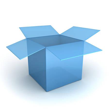 shipped: Opened blue box isolated over white background
