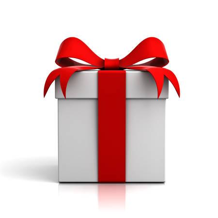 Gift box met rood lint boog die over witte achtergrond met reflectie