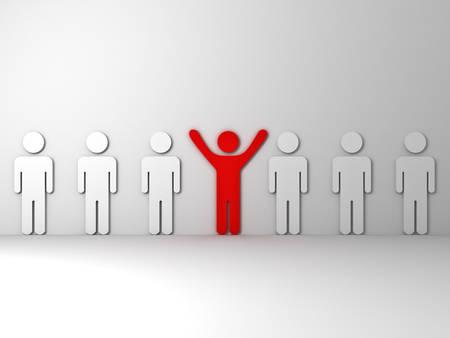 腕を広げて他の白い人々 の側に立って 1 つの赤い男群衆とは異なる概念から目立つ