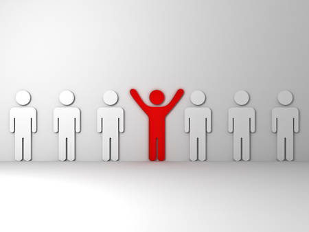 stand out: Stand out from the crowd and different concept  One red man standing with arms wide open with other white people Stock Photo