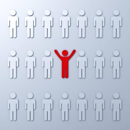 uomo rosso: Distinguersi dalla folla concetto e diverso Un uomo rosso in piedi con le braccia spalancate con altre persone bianche