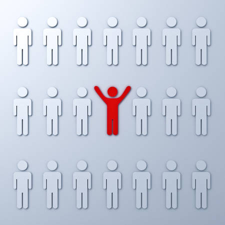 arms wide open: Stand out from the crowd and different concept  One red man standing with arms wide open with other white people Stock Photo