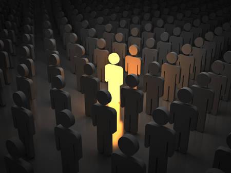 Stand uit de menigte en ander concept Een licht man met de armen wijd open met andere mensen Stockfoto