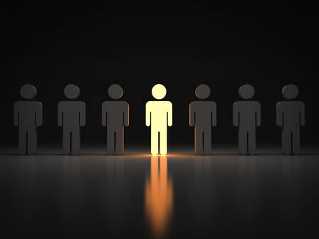 Stand out from the crowd and different concept  One light man standing with arms wide open with other people