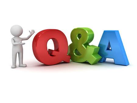 signo de interrogacion: 3d hombre de pie y presentando Q y A concepto de preguntas y respuestas de la palabra aislada sobre fondo blanco Foto de archivo