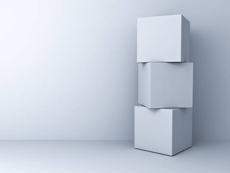 package sending: Blank three 3d boxes concept standing over white wall background
