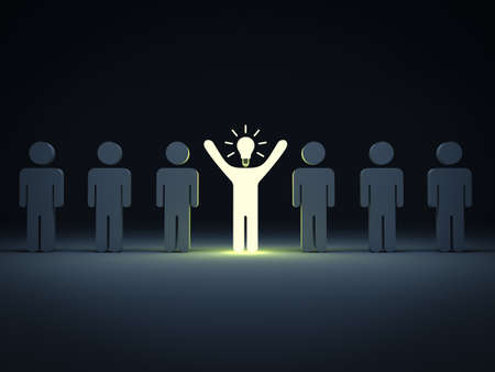 different idea: Stand out from the crowd and different concept  One idea light bulb man standing with arms wide open with other dim people