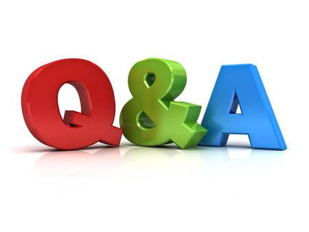 Pytania i odpowiedzi koncepcja Q i słowo izolowanych na białym tle Zdjęcie Seryjne