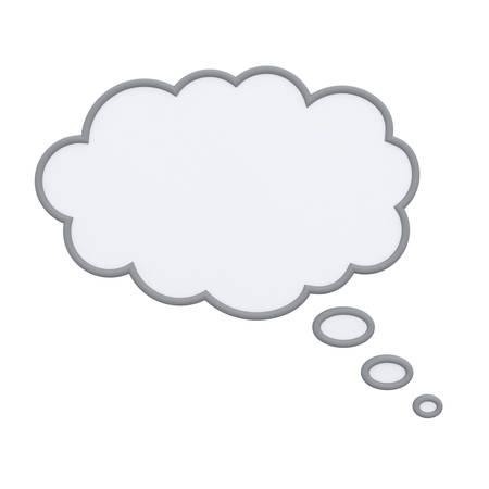 pensando: Pensando burbuja aislada sobre fondo blanco