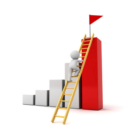climbing ladder: 3d man climbing ladder to the red flag on top of successful graph  Business goal concept isolated over white background