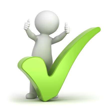 cartoon tick: 3d man showing thumbs up with green check mark over white background Stock Photo