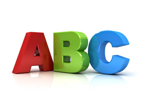 3d abc letters isolated over white background with reflection