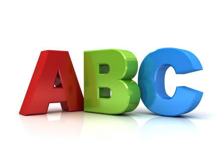 Lettres abc 3d, isolé, sur fond blanc avec la réflexion