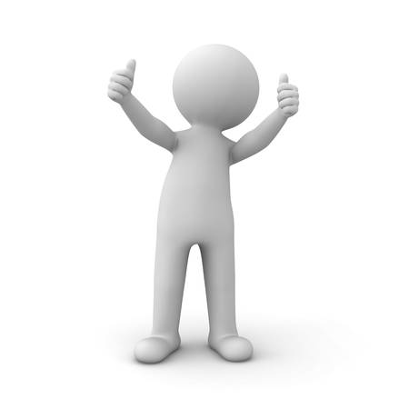 two thumbs up: 3d man showing thumbs up like over white background