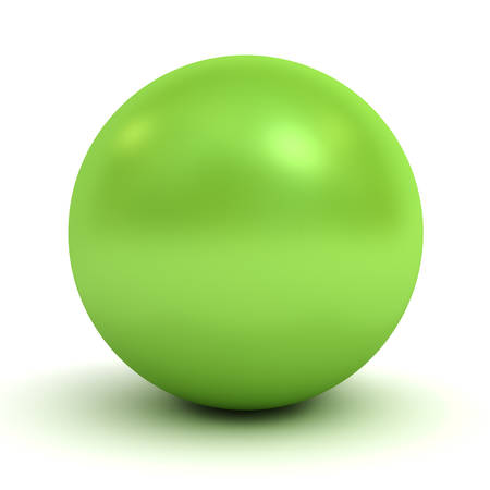 objects with clipping paths: Green glossy 3d render sphere isolated on white background with shadow Stock Photo