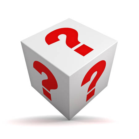 probable: Question box isolated over white background with shadow