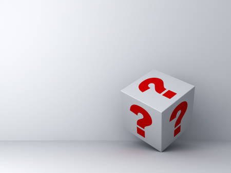 probable: Question box over white wall background with shadow