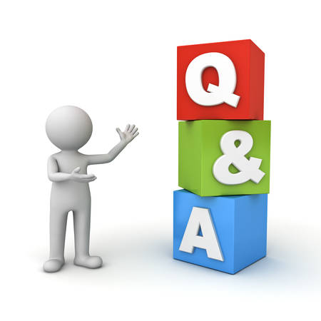 communication cartoon: 3d man standing and presenting Q and A word questions and answers concept isolated over white background Stock Photo
