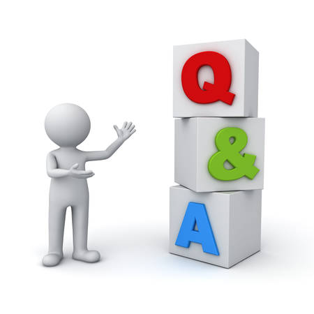ask: 3d man standing and presenting Q and A word questions and answers concept isolated over white background Stock Photo