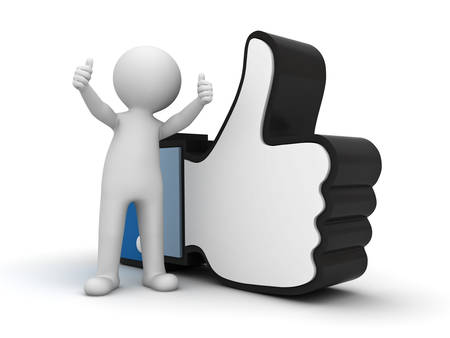 thumbs up: 3d man showing thumb up with like hand symbol over white background Stock Photo