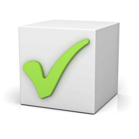 green check mark: Green check mark sign on white box isolated over white background with reflection