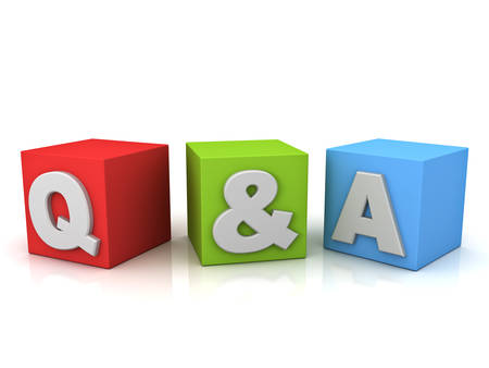 frequently: Questions and answers concept Q and A word isolated over white background with reflection