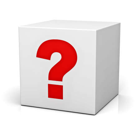 probable: Question box isolated over white background with reflection Stock Photo