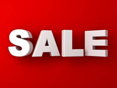 big sale: 3d white sale word on red wall background