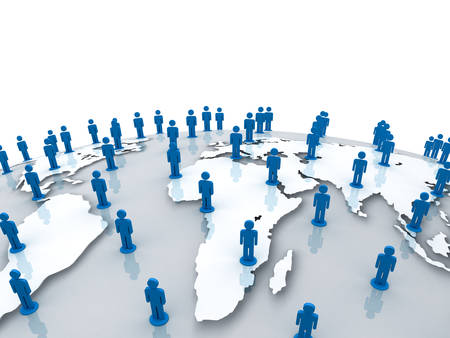 social gathering: Social network people on world globe map over white background