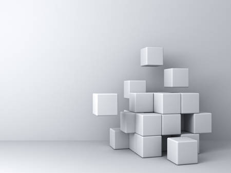white wall: Abstract blocks on white wall background