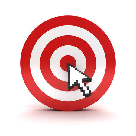accuracy: Arrow cursor clicking in the center of the red dart board or target isolated over white background Stock Photo