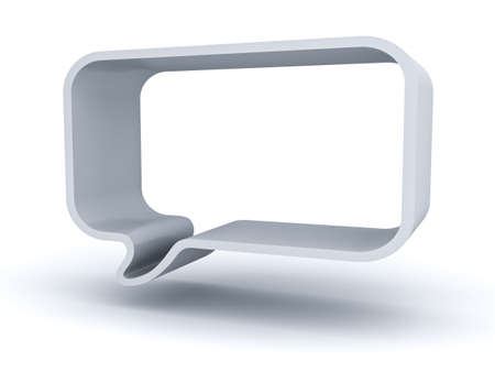 Blank 3d speech bubble isolated over white background with shadow