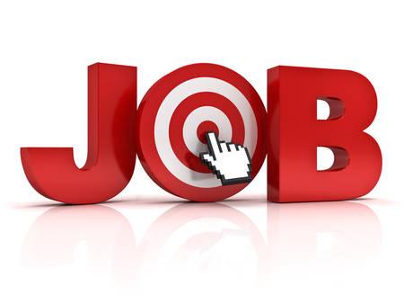 trabajo: Objetivo concepto de búsqueda de empleo, la palabra trabajo rojo con la mano del cursor haciendo clic del ratón en el centro del tablero de dardos aisladas sobre fondo blanco con la reflexión. Foto de archivo