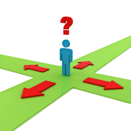 different thinking: Business man thinking and confusing with four red arrows on green ways showing four different directions wondering which way to go over white background