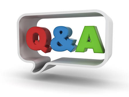 questions: Questions and answers concept Q and A word in speech bubble isolated over white background Stock Photo
