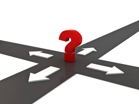 right path: Red question mark on the crossroad with four arrow directions over white background Stock Photo