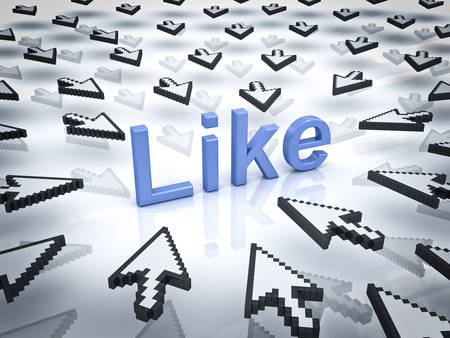 clicking: Like concept many arrow cursors mouse clicking like button or link on white background with reflection.