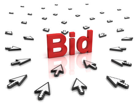 bid: Many arrow cursors mouse clicking red bid button or link isolated on white background with reflection. Stock Photo