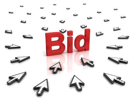 bid: Muchos cursores de flecha del ratón pulsando el botón rojo de oferta o vínculo aislados sobre fondo blanco con la reflexión.