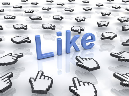 clicking: Like concept many hand cursors mouse clicking like button or link on white background with reflection Stock Photo