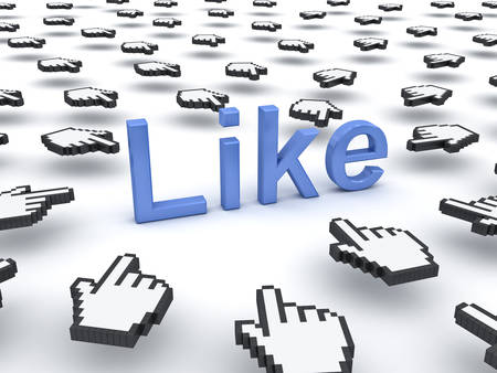 popularity popular: Like concept many hand cursors clicking like button or link on white background Stock Photo