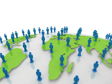 social gathering: Social network people on green world globe map over white background Stock Photo