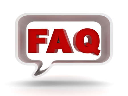 answers: Frequently ask question concept, word faq in speech bubble on white background