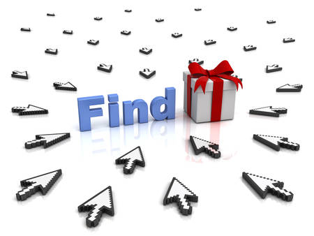 holiday gifts: Find gift online concept many people try to find presents for special days Stock Photo