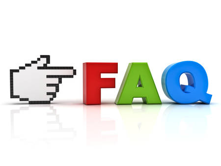 frequently: Hand cursor pointing at colorful word faq frequently asked questions concept isolated over white background