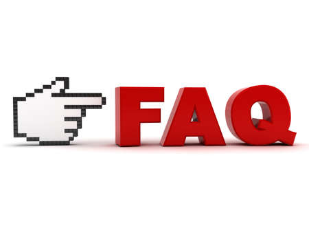 frequently: Hand cursor pointing at red word faq frequently asked questions concept isolated over white background