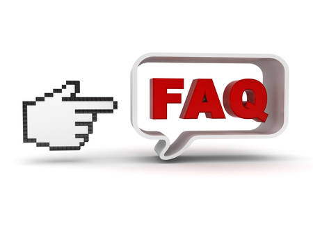 frequently: Hand cursor pointing at red word faq in speech bubble frequently asked questions concept isolated over white background