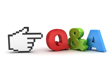 question and answer: Hand cursor pointing at Q and A questions and answers concept isolated over white background