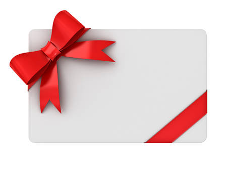 Blank gift card with red ribbons and bow isolated on white background